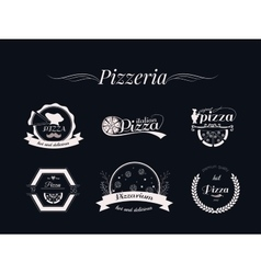 set pizza logos badges and labels pizzeria vector image