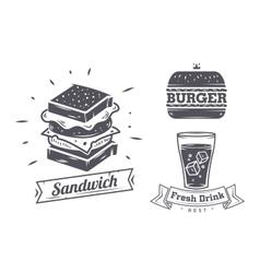 set vintage fast food restaurant signs panel vector image