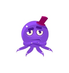 Snobbish Funny Octopus In Top Hat Emoji vector