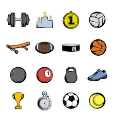 Sports icons set cartoon vector