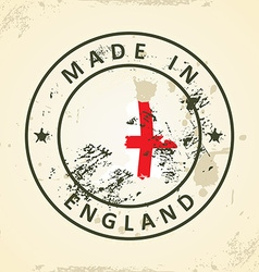 Stamp with map flag of England vector