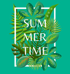 Summertime background with tropical green leaves vector