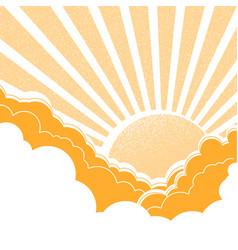 Sun with clouds nature yellow background vector