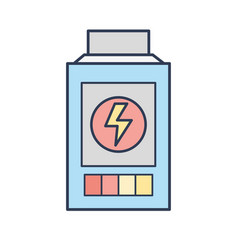Technology battery power with energy hazard symbol vector