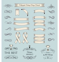 Trophy and awards icons set ribbons filigree vector