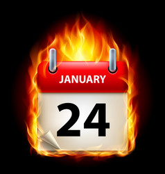Twenty-fourth january in calendar burning icon on vector