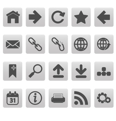 Web icons on gray squares vector image vector image