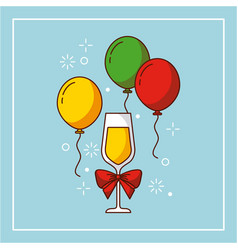 Wine glass bow balloons flying decoration party vector