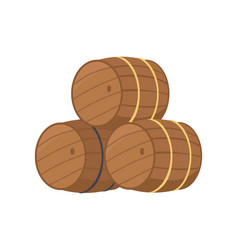 wooden barrels with beer vector image