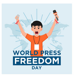 World press freedom day creative in flat concept vector