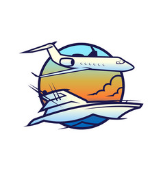 yacht on waves and plane in sky icon vector image