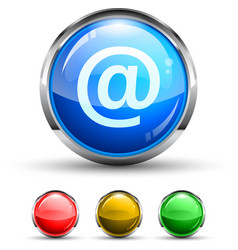 email glossy button vector image vector image