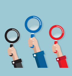 Hand with magnifying glass vector