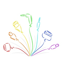 seven cable plugs vector image