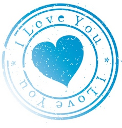 Stamp -i love you- blue vector