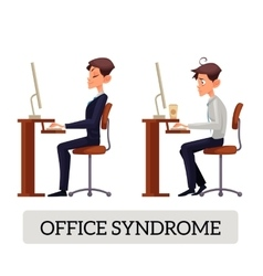 Demonstration of correct and incorrect sitting on vector image