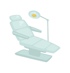 dentist chair with standing lamp isolated on white vector image vector image