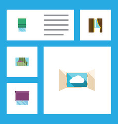 flat icon glass set of cloud glazing balcony and vector image vector image