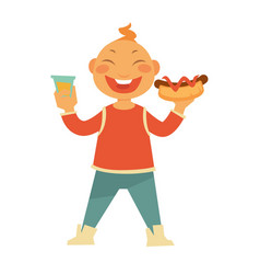 Funny cheerful child with hotdog and sweet soda vector
