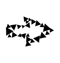 Arrow with contour of triangles icon simple style vector