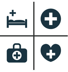drug icons set collection of plus heal surgical vector image