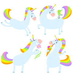 magic unicorns set mistycal horse with corn vector image vector image