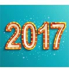 Happy new year 2017 shining retro light vector image vector image