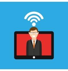 Man tablet free wifi icon design vector