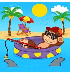 monkey fishing on sea vector image vector image