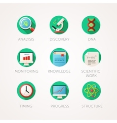 Science icons set Modern flat colored vector image vector image