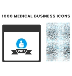 2017 Award Ribbon Calendar Page Icon With 1000 vector image
