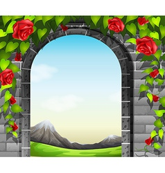 A stonewall with roses vector