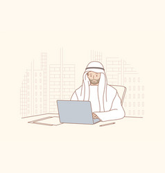 Arab man working in office concept vector