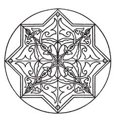 Arabic koran star-shape panel is a 17th century vector