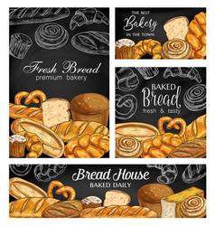 bakery bread chalkboard sketch banners vector image