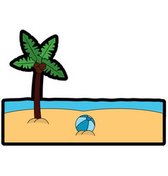 beach palm tree ball sand sea image vector image