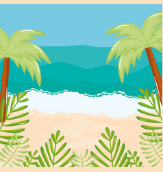 beach seascape with trees palms summer scene vector image