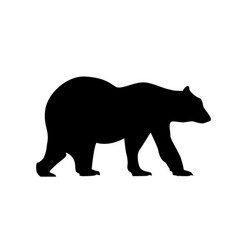 Bear silhouette grizzly icon black polar vector