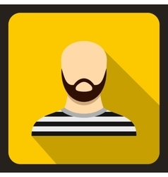 Bearded man in prison garb icon flat style vector