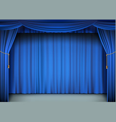 Blue cinema curtain with stage vector