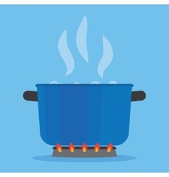 Boiling water in pan on stove in kitchen vector
