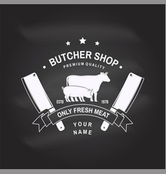 Butcher shop badge or label with cow beef vector