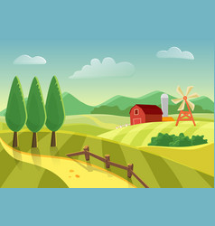 Cartoon farm landscape field with farmers vector