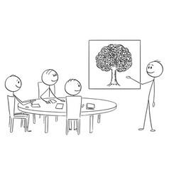Cartoon of business team on brainstorming vector
