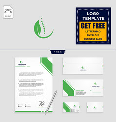 chiropractic leaf logo template and stationery vector image