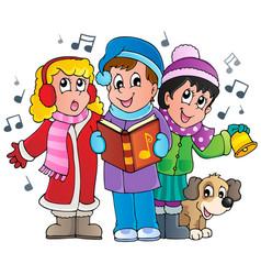 christmas carol singers theme 1 vector image
