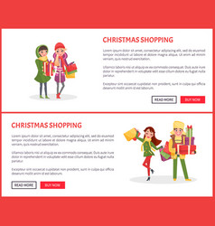 Christmas shopping web pages people with presents vector