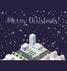 christmas winter city background vector image