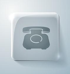 Classic retro phone Glass square icon vector