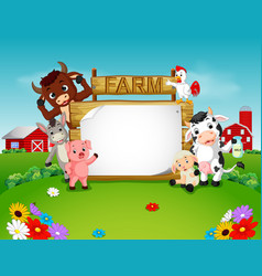 Collection farm animals with wooden sign vector